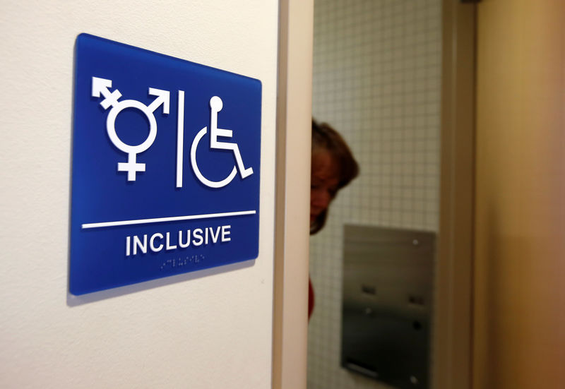 © Reuters. FILE PHOTO: A gender neutral bathroom is seen at the University of California, Irvine