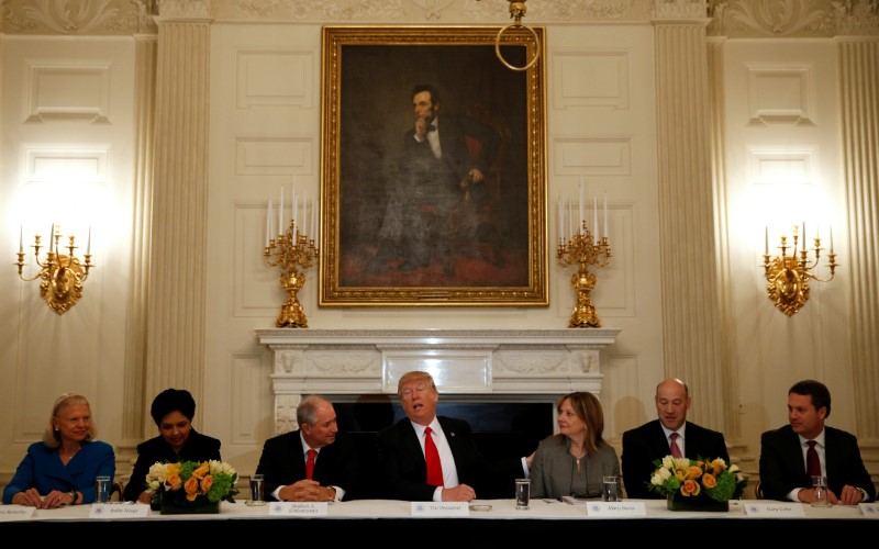 © Reuters. Trump hosts a strategy and policy forum with CEOs at the the White House in Washington