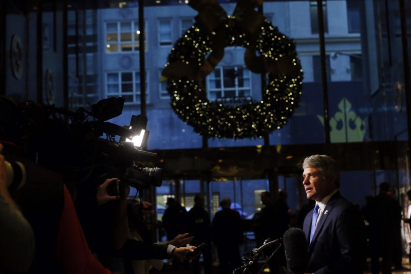 © Reuters. U.S. Representative Michael McCaul (R-TX) speaks to the news media after a meeting at Trump Tower to speak with U.S. President-elect Donald Trump in New York