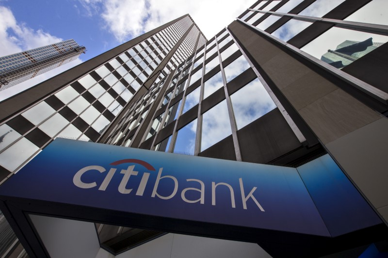 © Reuters. FILE PHOTO - A view of the exterior of the Citibank corporate headquarters in New York