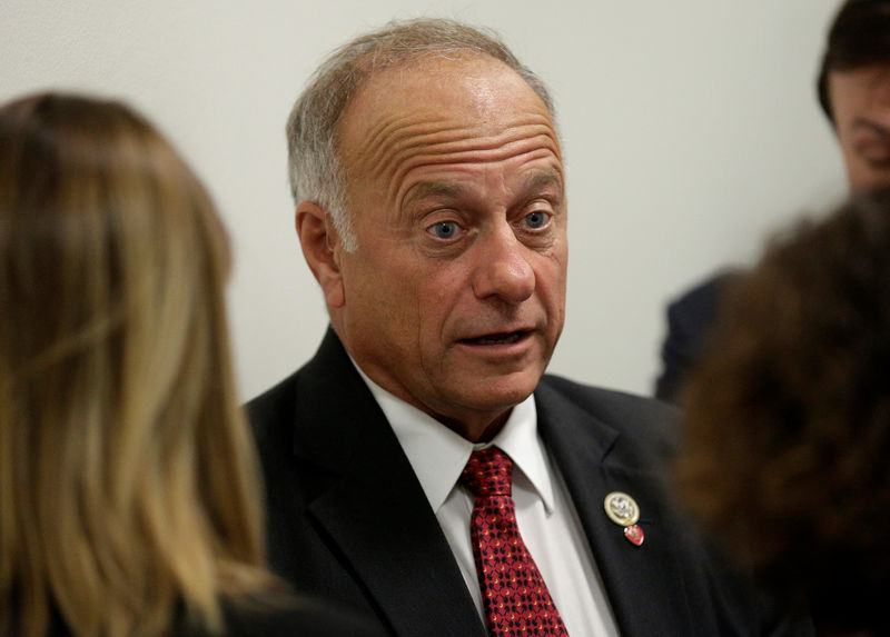 © Reuters. Rep. Steve King (R-IA) speaks to reporters about DACA and immigration legislation on Capitol Hill in Washington