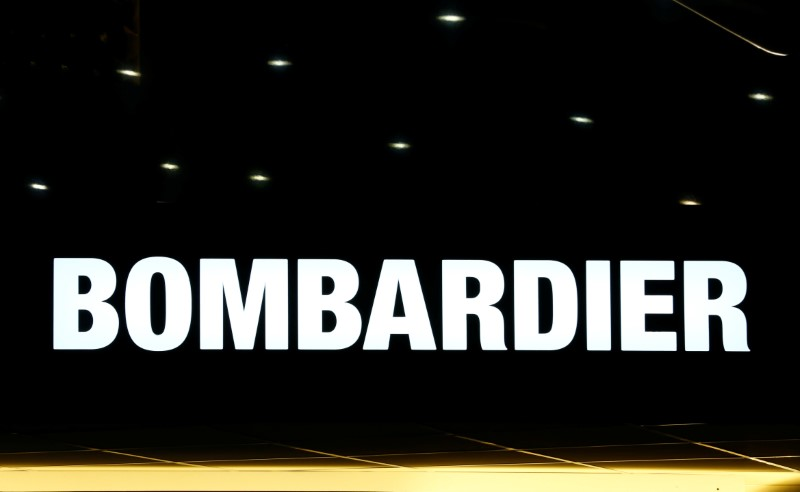 © Reuters. A logo of jet manufacturer Bombardier is pictured on their booth during EBACE in Geneva