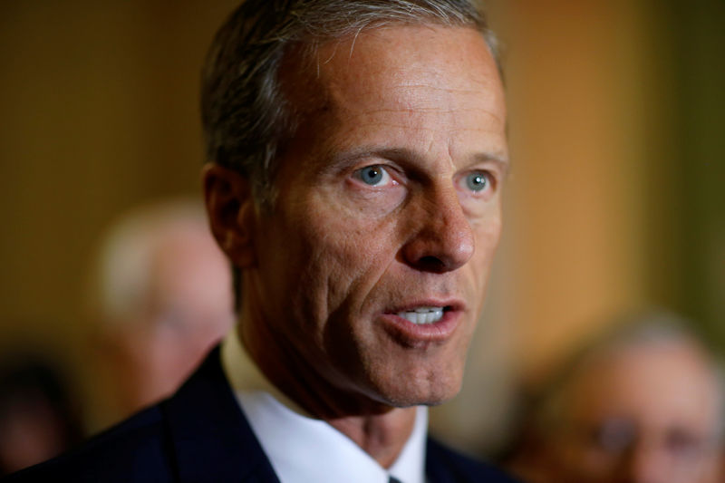 © Reuters. Senator John Thune (R-SD) speaks during a press conference on Capitol Hill in Washington