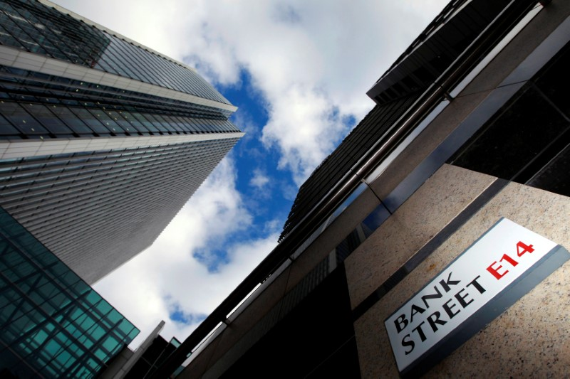 © Reuters. A sign for Bank Street and high rise offices are seen in the financial district in Canary Wharf in London