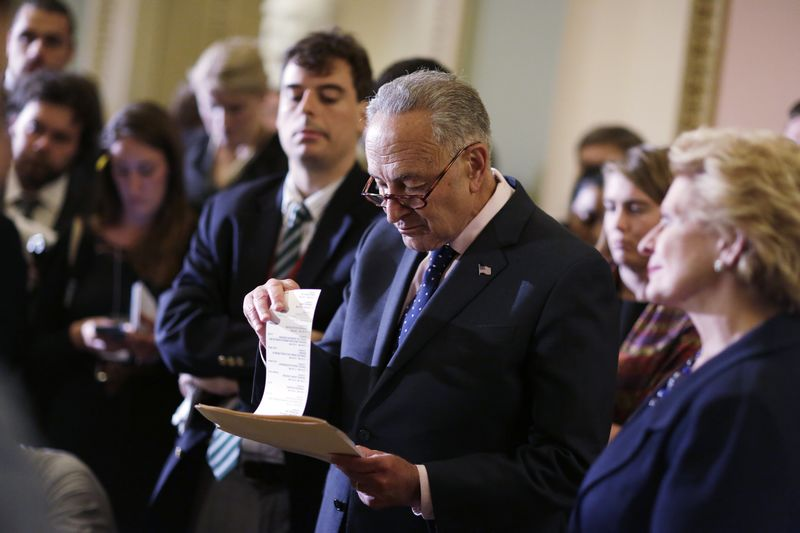 © Reuters. Senate Democratic Leader Chuck Schumer faces reporters following a Democratic policy meeting on Capitol Hill in Washington