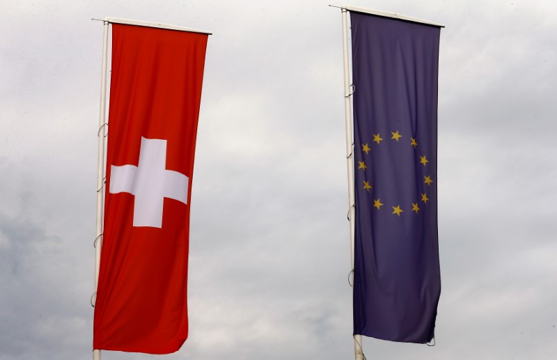 © Reuters. Flags of the European Union and Switzerland flutter in the wind in Blotzheim