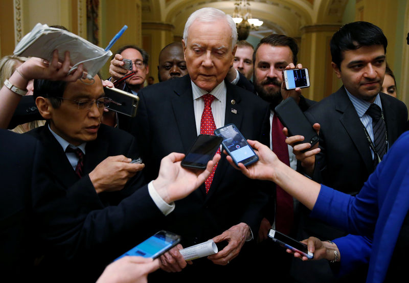 © Reuters. Senator Orrin Hatch speaks to reporters after meeting with U.S. Secretary of the Treasury Steven Mnuchin and Director of the National Economic Council Gary Cohn and Republican law makers about tax reform on Capitol Hill in Washington