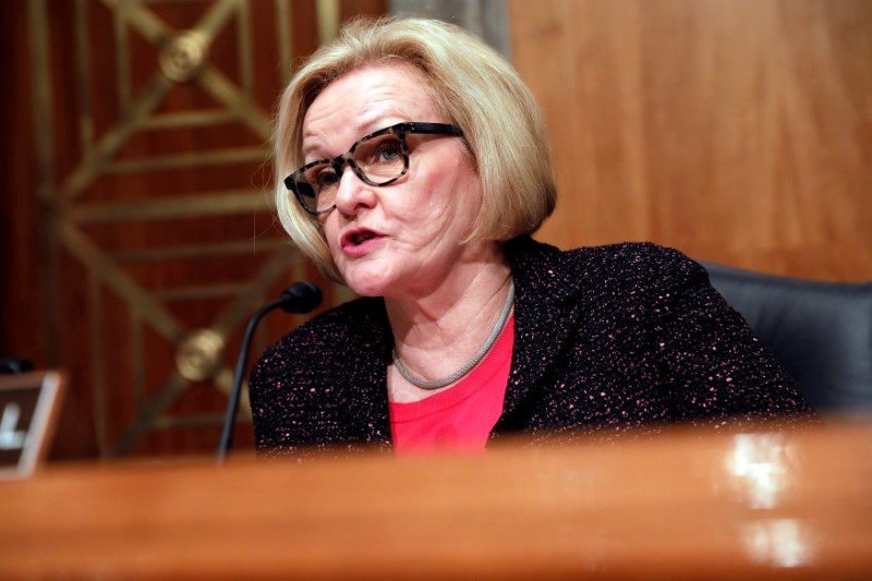© Reuters. Ranking Member Sen. Claire McCaskill (D-MO) speaks prior to Homeland Security Secretary John Kelly testifying before a Senate Homeland Security and Governmental Affairs hearing on border security on Capitol Hill in Washington