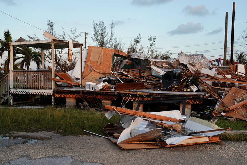 © Reuters. A destroyed business on US 1 is pictured after Hurricane Irma inBig Pine Key, Florida