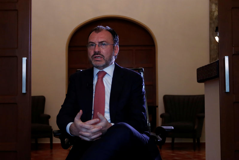 © Reuters. Mexico's Foreign Minister Luis Videgaray speaks during an interview with Reuters in Mexico City
