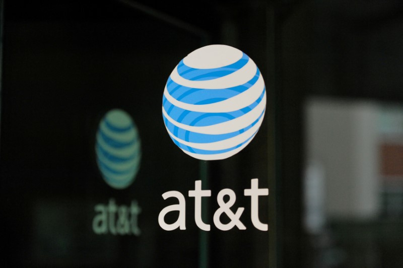 © Reuters. FILE PHOTO: An AT&T logo is seen at a AT&T building in New York City