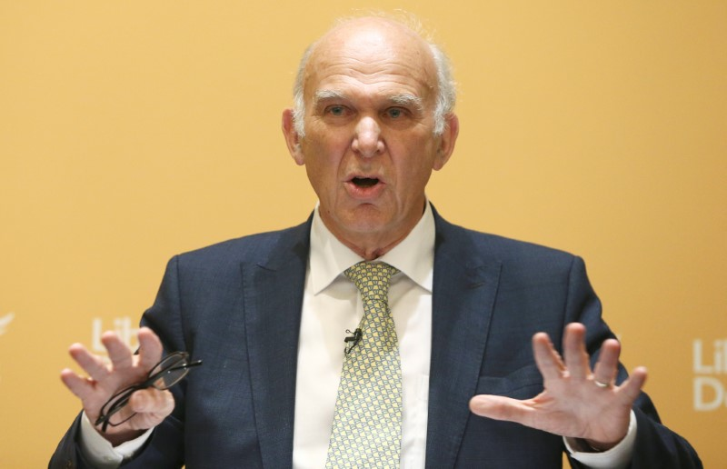 © Reuters. Vince Cable speaks after being named as the new leader of Britain's Liberal Democrat Party in London