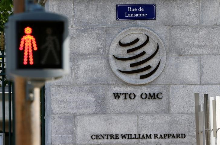 © Reuters. FILE PHOTO: The headquarters of the WTO are pictured in Geneva