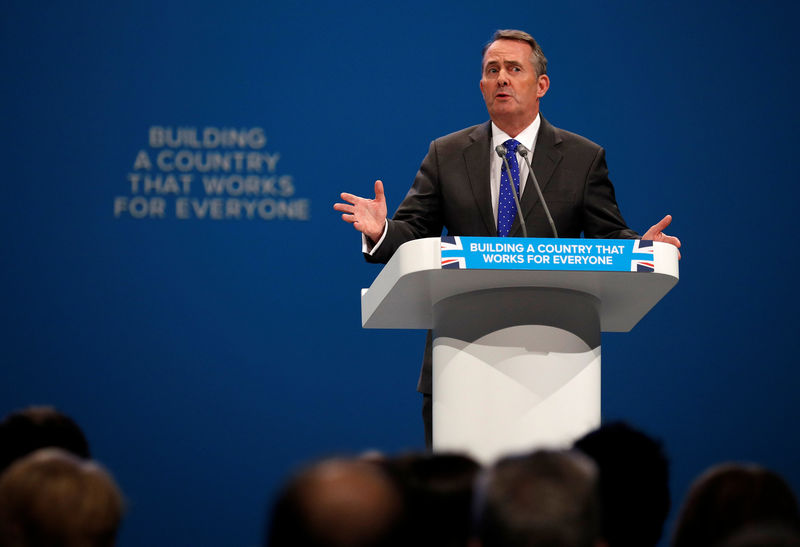 © Reuters. Britain's Secretary of State for International Trade Liam Fox addresses the Conservative Party conference in Manchester