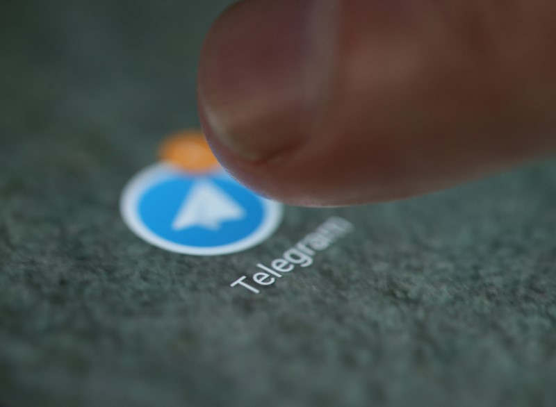 © Reuters. The Telegram app logo is seen on a smartphone in this illustration