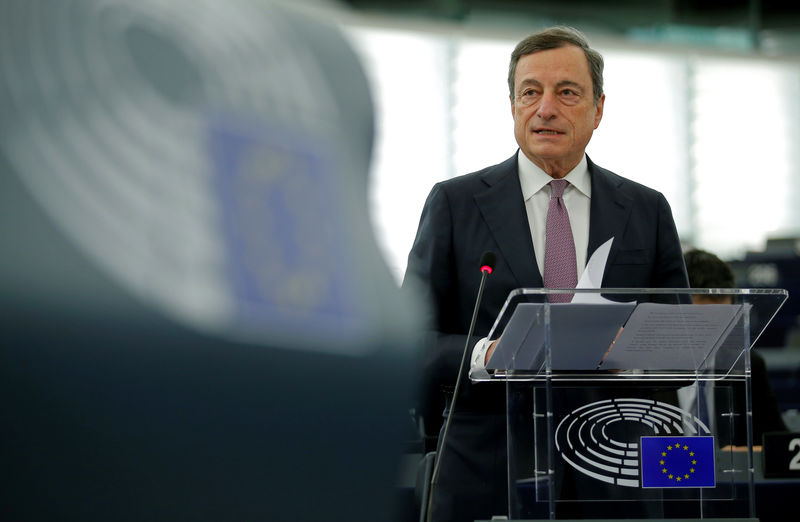 © Reuters. ECB President Draghi delivers a speech during a debate on the ECB annual report for 2016 at the European Parliament in Strasbourg