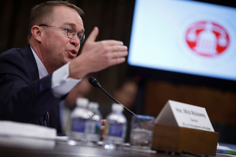 © Reuters. Office of Management and Budget Director Mick Mulvaney testifies about the President's 2019 budget before the Senate Budget Committee on Capitol Hill in Washington