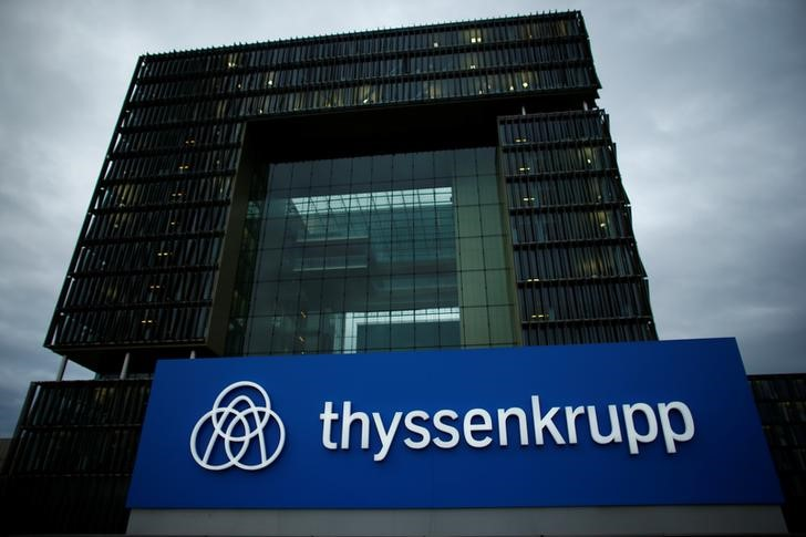 © Reuters. A logo of ThyssenKrupp AG is pictured outside their headquarters in Essen