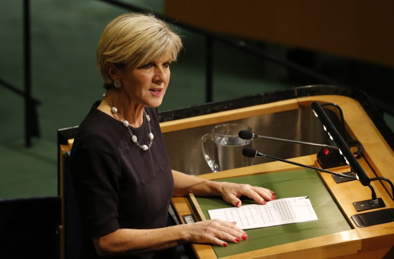 © Reuters. Australian Foreign Minister Bishop addresses the 72nd United Nations General Assembly at U.N. headquarters in New York
