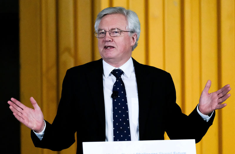 © Reuters. Britain's Secretary of State for Exiting the European Union David Davis delivers a speech during a visit to PD Ports at Teesport near Middlesborough