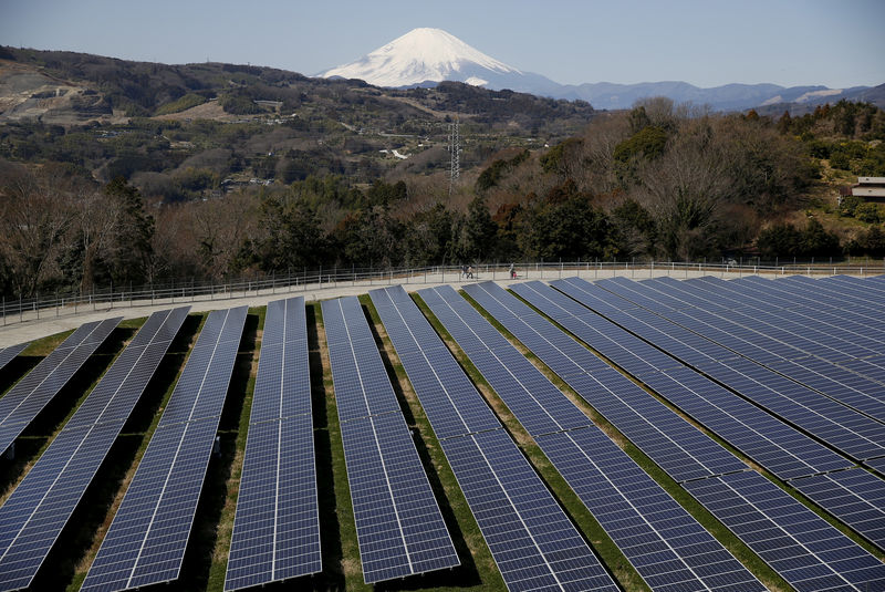 © Reuters. FILE PHOTO: Solar panels are seen at a solar power facility as snow covered Mount Fuji is background in Nakai town, Japan