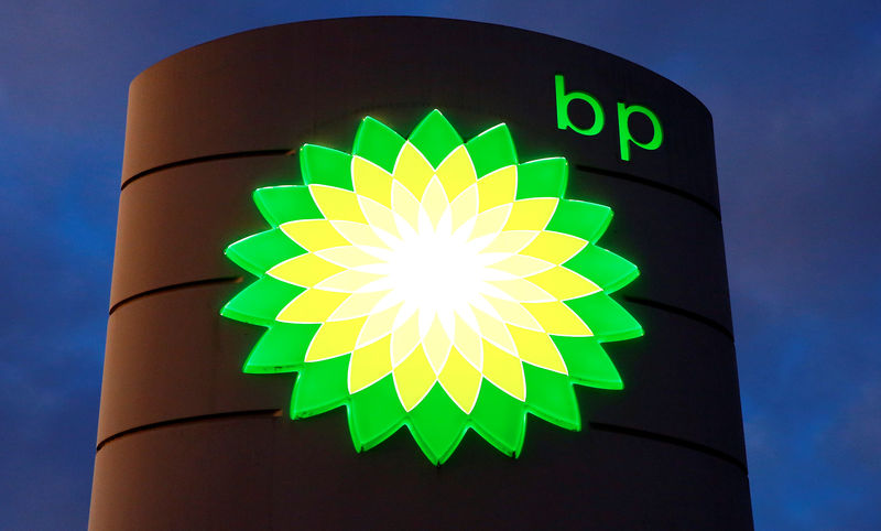 © Reuters. FILE PHOTO: Logo of BP is seen at a petrol station in Kloten