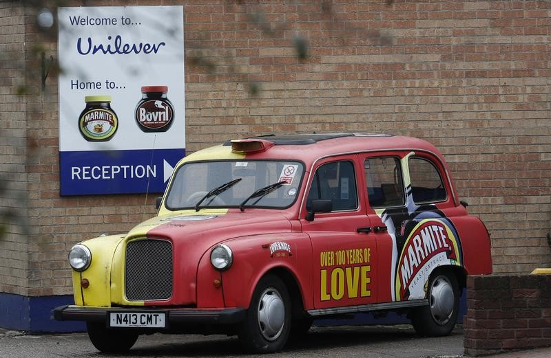 © Reuters. A branded taxi stands outside Unilever's Marmite factory in Burton upon Trent