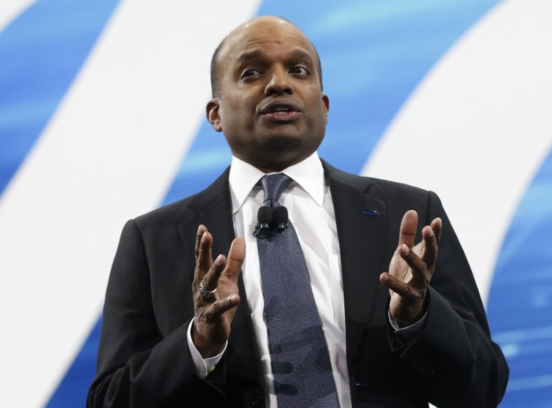 © Reuters. FILE PHOTO: Raj Nair, Ford executive vice-president of global product development, speaks during the North American International Auto Show in Detroit
