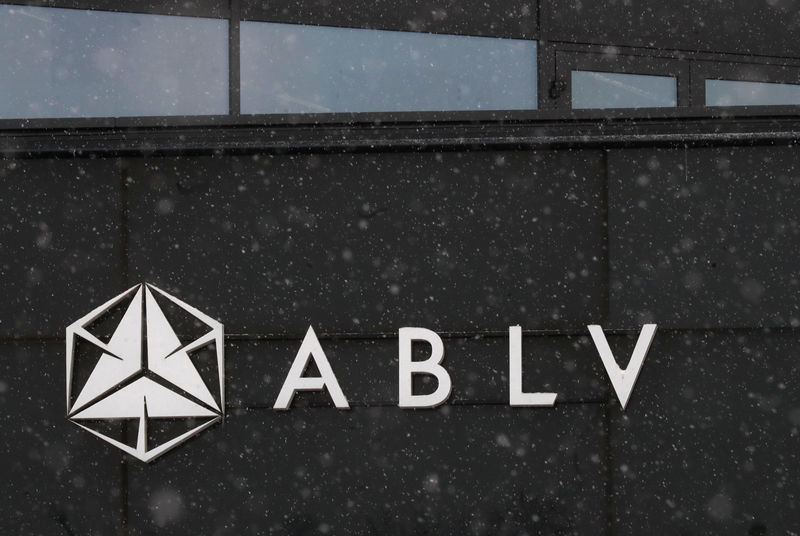 © Reuters. A logo of the ABLV Bank is pictured in Riga