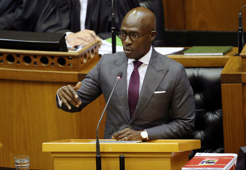 © Reuters. Finance Minister Malusi Gigaba delivers his budget address at Parliament in Cape Town