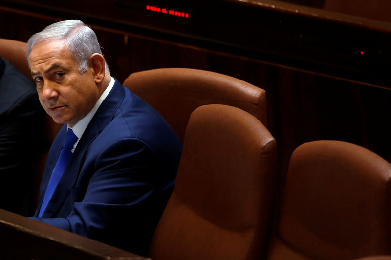 © Reuters. Israeli Prime Minister Benjamin Netanyahu attends a session of the plenum of the Knesset, the Israeli Parliament, in Jerusalem