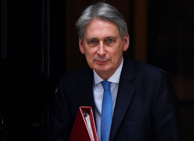© Reuters. Britain's Chancellor of the Exchequer Philip Hammond leaves 11 Downing Street to deliver his half-yearly update on the public finances, in London