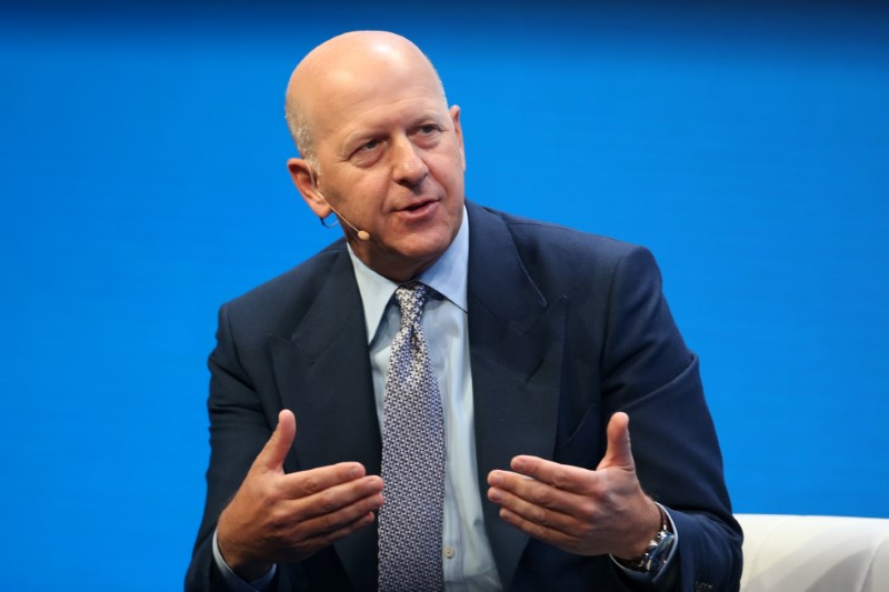 © Reuters. FILE PHOTO - David M. Solomon, President and Co-Chief Operating Officer of Goldman Sachs, speaks during the Milken Institute Global Conference in Beverly Hills