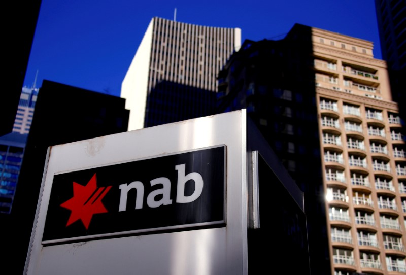 © Reuters. The logo of the National Australia Bank is displayed outside their headquarters building in central Sydney