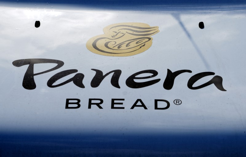 © Reuters. The sign on the hood of a delivery truck for Panera Bread Co. is seen in Westminster, Colorado