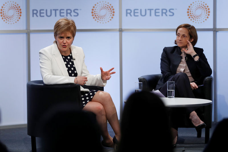 © Reuters. Scotland's First Minister, Nicola Sturgeon, speaks at a Reuters Newsmaker event, hosted by Reuters Global Editor, Alessandra Galloni