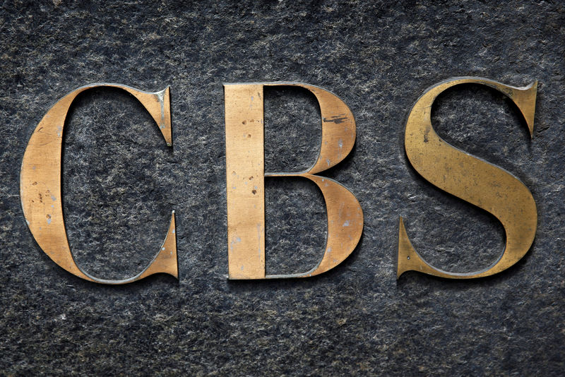 © Reuters. FILE PHOTO: The CBS television network logo is seen outside their offices on 6th avenue in New York