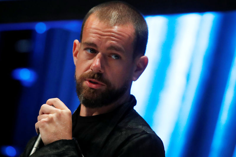© Reuters. Jack Dorsey, CEO and co-founder of Twitter and founder and CEO of Square, speaks at the Consensus 2018 blockchain technology conference in New York City