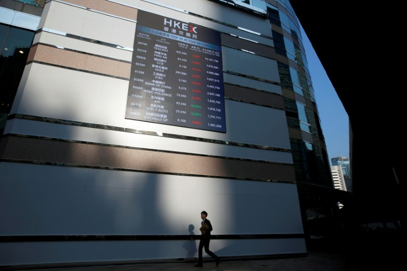 © Reuters. FILE PHOTO: A panel displays a list of top active securities outside the Hong Kong Exchanges in Hong Kong