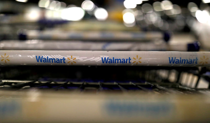 © Reuters. FILE PHOTO: The logo of Walmart is seen on shopping trolleys at their store in Sao Paulo