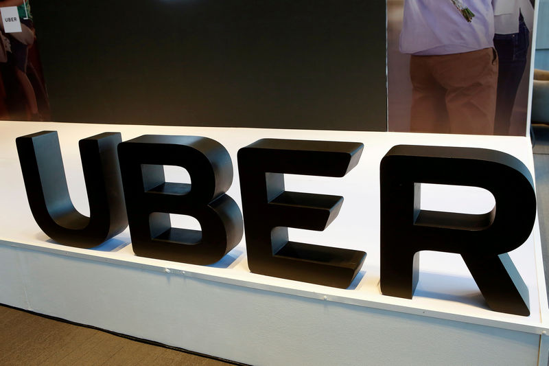 © Reuters. FILE PHOTO: The logo of Uber is pictured during the presentation of their new security measures in Mexico City