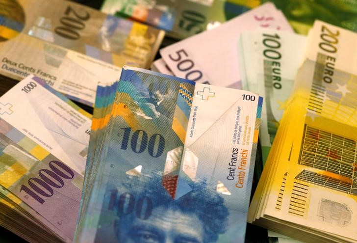 © Reuters. FILE PHOTO: Swiss Franc and Euro banknotes of several values lie on a table in a Swiss bank in Bern