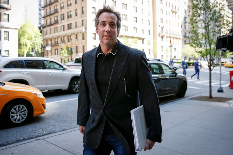 © Reuters. U.S. President Donald Trump's personal lawyer Michael Cohen arrives at his hotel in New York