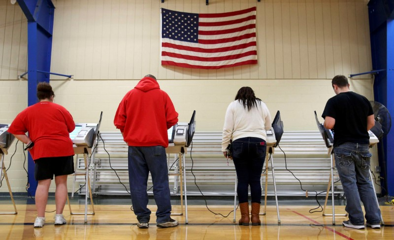© Reuters. Voters cast their votes during the U.S. presidential election in Ohio