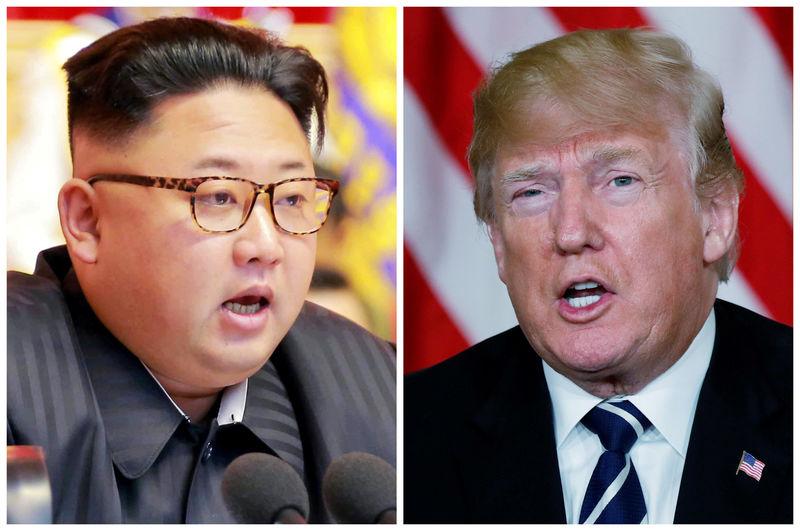 © Reuters. FILE PHOTO: A combination photo of North Korean leader Kim Jong Un and U.S. President Donald Trump
