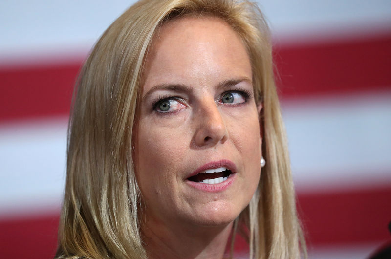 © Reuters. U.S. Secretary of Homeland Security Nielsen participates in roundtable on immigration in Bethpage, New York