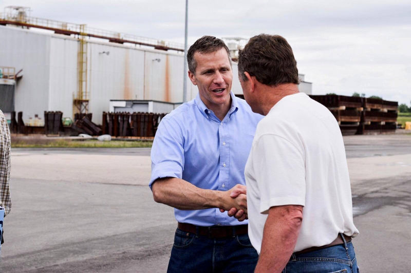 © Reuters. FILE PHOTO:    Missouri Governor Eric Greitens seen at a industrial site