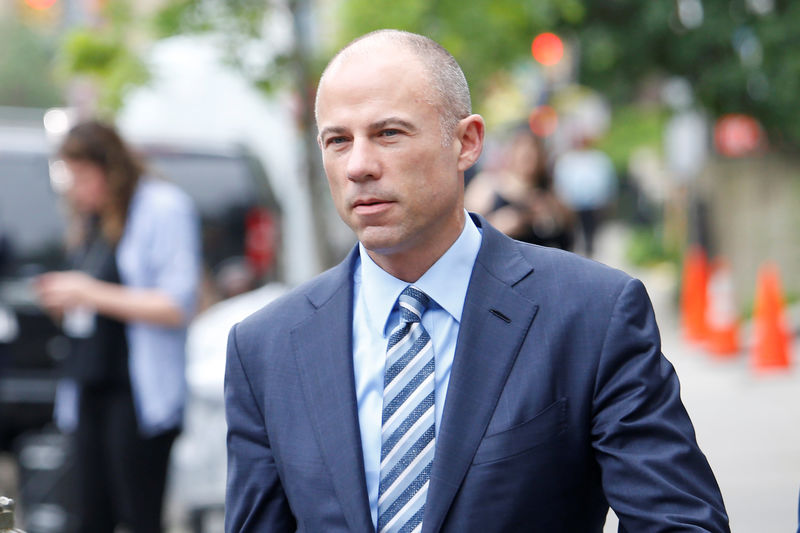 © Reuters. Michael Avenatti, the attorney of adult-film star Stephanie Clifford, known as Stormy Daniels, arrives at federal court  in Manhattan