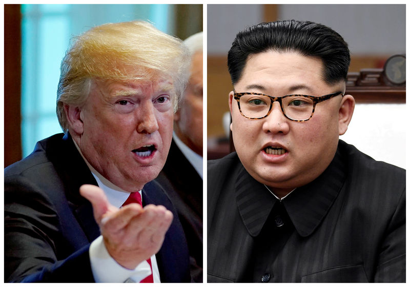 © Reuters. FILE PHOTO: A combination photo shows U.S.  President Donald Trump and North Korean leader Kim Jong Un