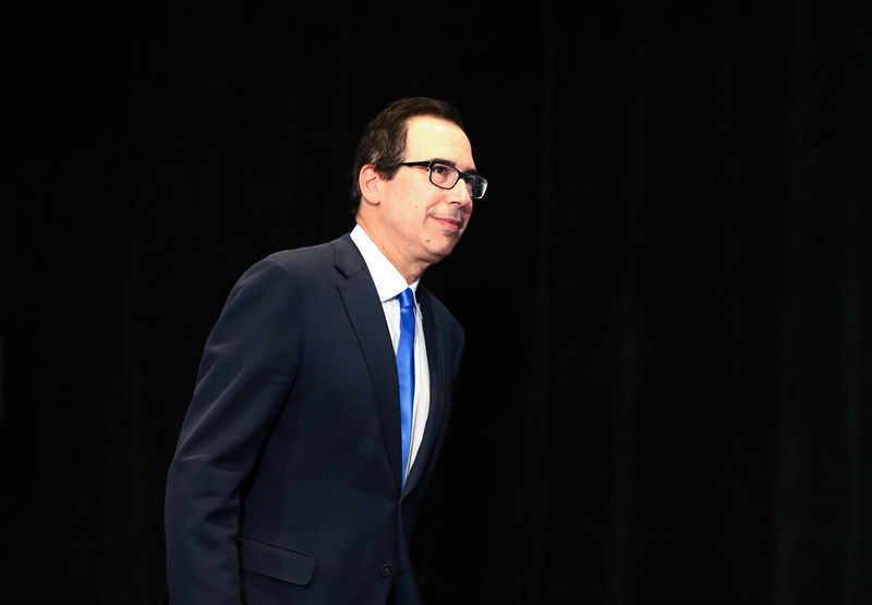 © Reuters. United States Secretary of the Treasury Steven Mnuchin arrives at a news conference after the G7 Finance Ministers Summit in Whistler